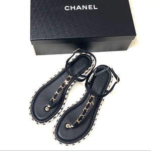{CHANEL} Black Braided Grossgrain Sandals 40EUR